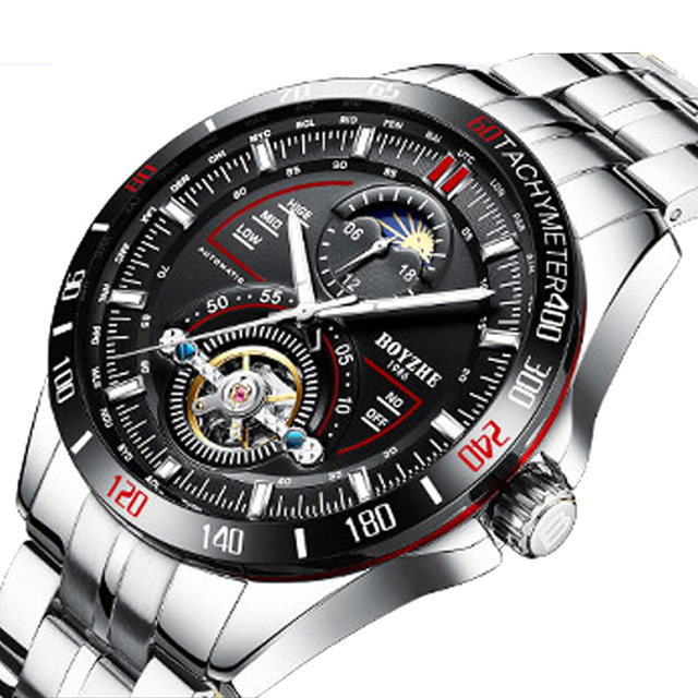 Men Automatic Mechanical Fashion Top Brand Sport Watches Tourbillon Moon Phase Self-Wind Stainless Steel Watch Relogio Masculino | Fotoflaco.net