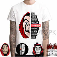 Nuovo T Shirt Gli Uomini Divertente Design La Casa De Papel Tshirt Soldi Rapina Magliette Serie TV Magliette Da Uomo Manica Corta casa di Carta T-Shirt
