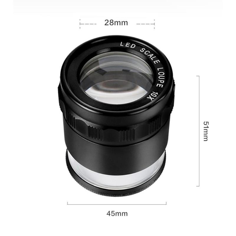 com luz led mini lente loep bolso lupa vidro óptico