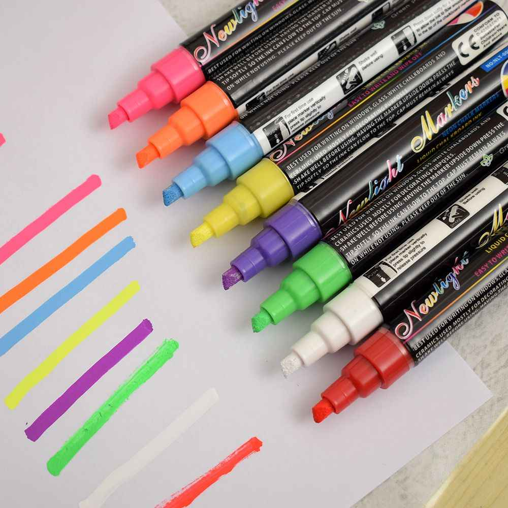 8 Color  Metalic Acrylic Paint Marker Pens Set Art Glass Highlighter