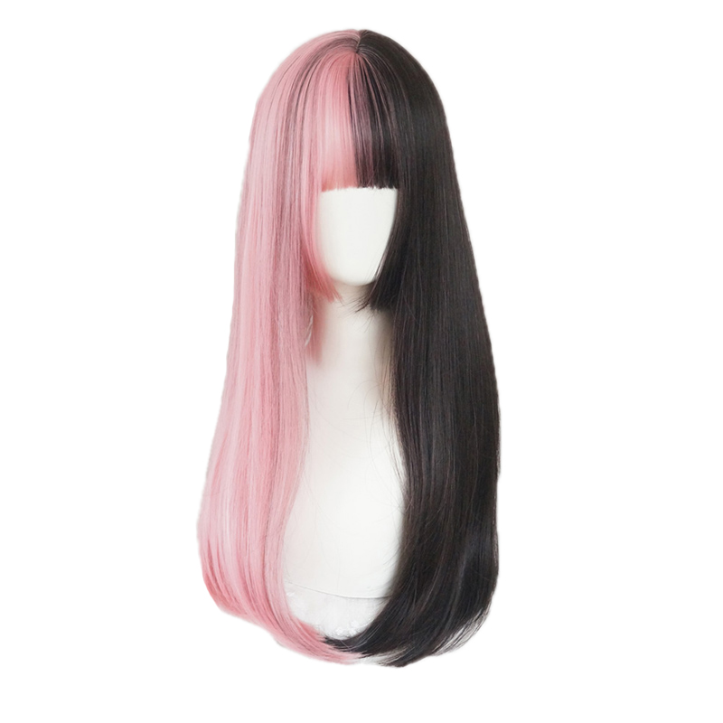 MANWEI Double Color Wig Female Long Straight Hair Harajuku Goth Wind Lolite Two-color Full Wig Cos Wig
