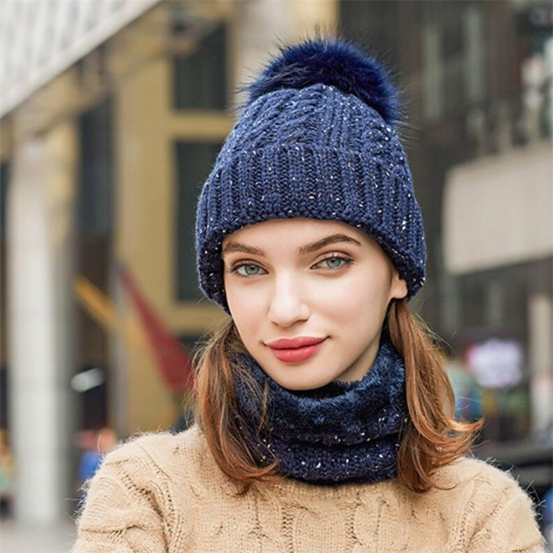 Winter Fashion Women Hat Scarf Set Girls Knitted Beanies Hat  And   Ring Scarf Lady Female Warm Plush Pom Pom Cap Scarves