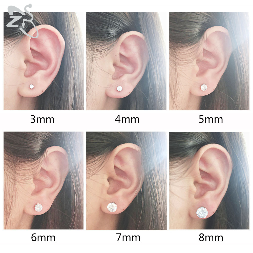 ZS 20G 6 Pair/set Shiny CZ Crystal Stud Earring 316L Stainless Steel Ear Stud 3-8MM Round Ear Cartilage Tragus Helix Piercings