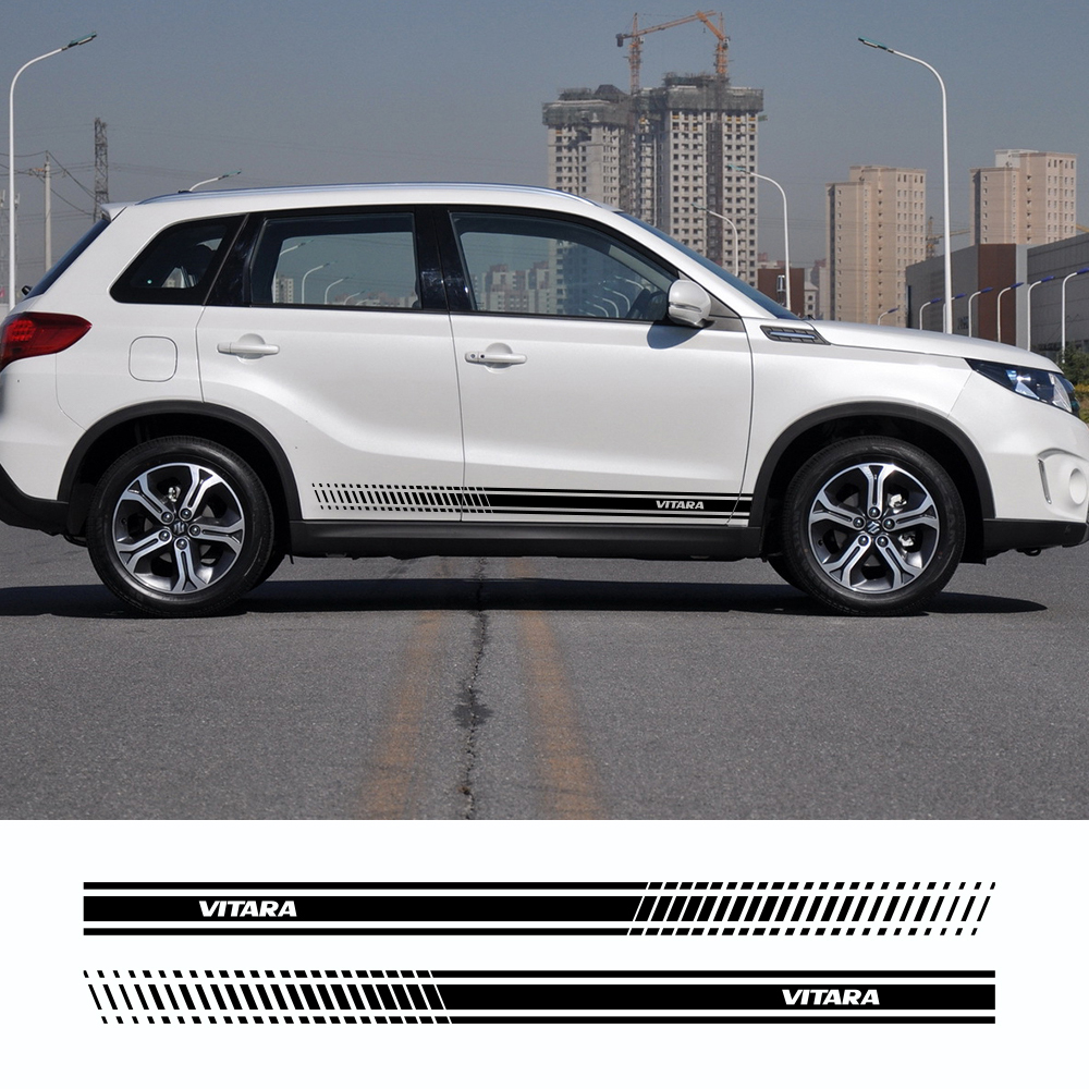 2Pcs For Suzuki Vitara Car Auto Side Body Vinyl Decals Long Stripe Stickers Auto Sport Styling Decals Tuning Car Accessories
