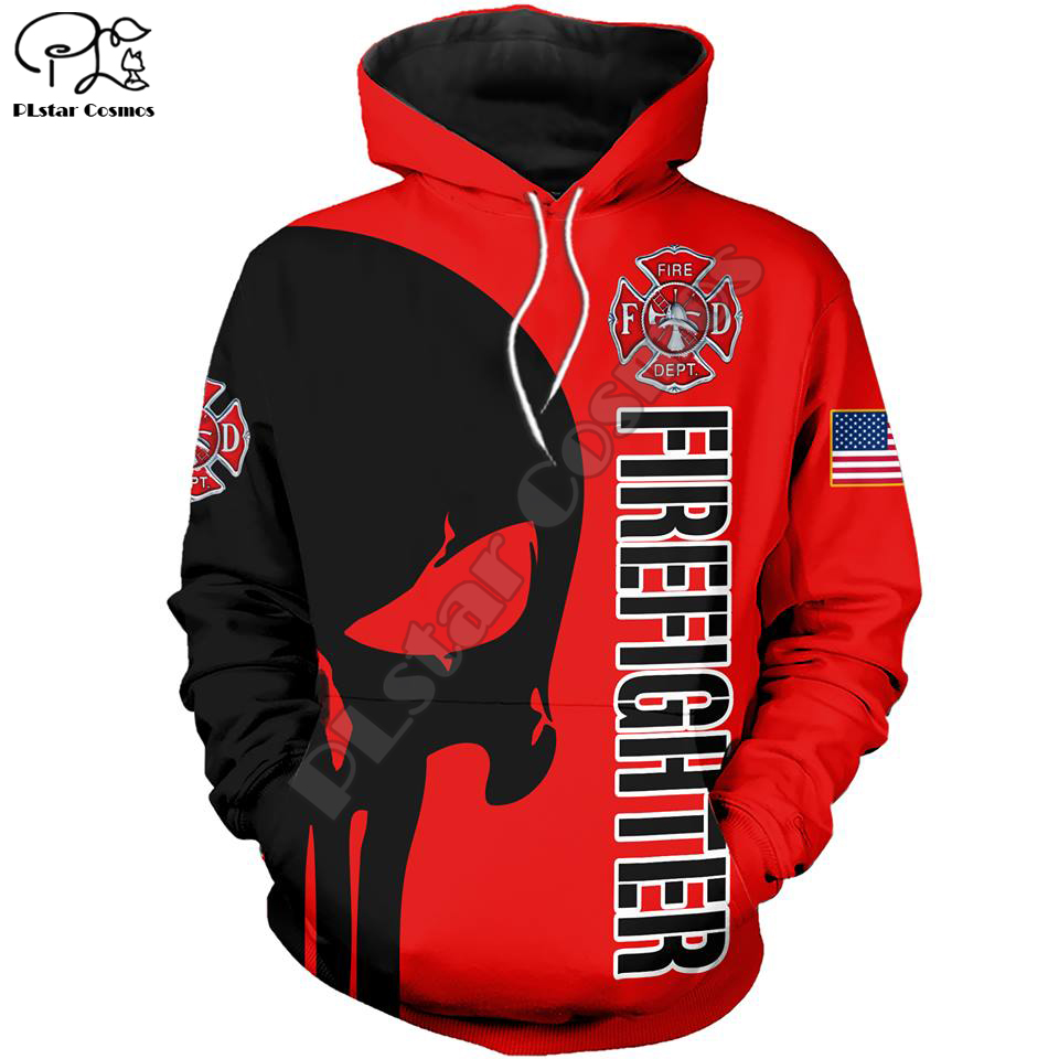 New Men Women I Am A Firefighter Print 3D Hoodies Funny Fireman Sweatshirt Fashion Cosplay Skull Hooded Long Sleeve Zipper Pullo