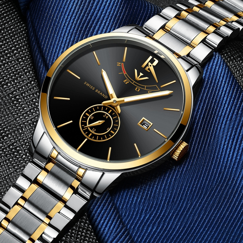 NIBOSI 2020 Mens Watches Top Luxury Brand Fashion Analogue Clock Bussiness Steel Waterproof Luminous Watch Relogio Masculino