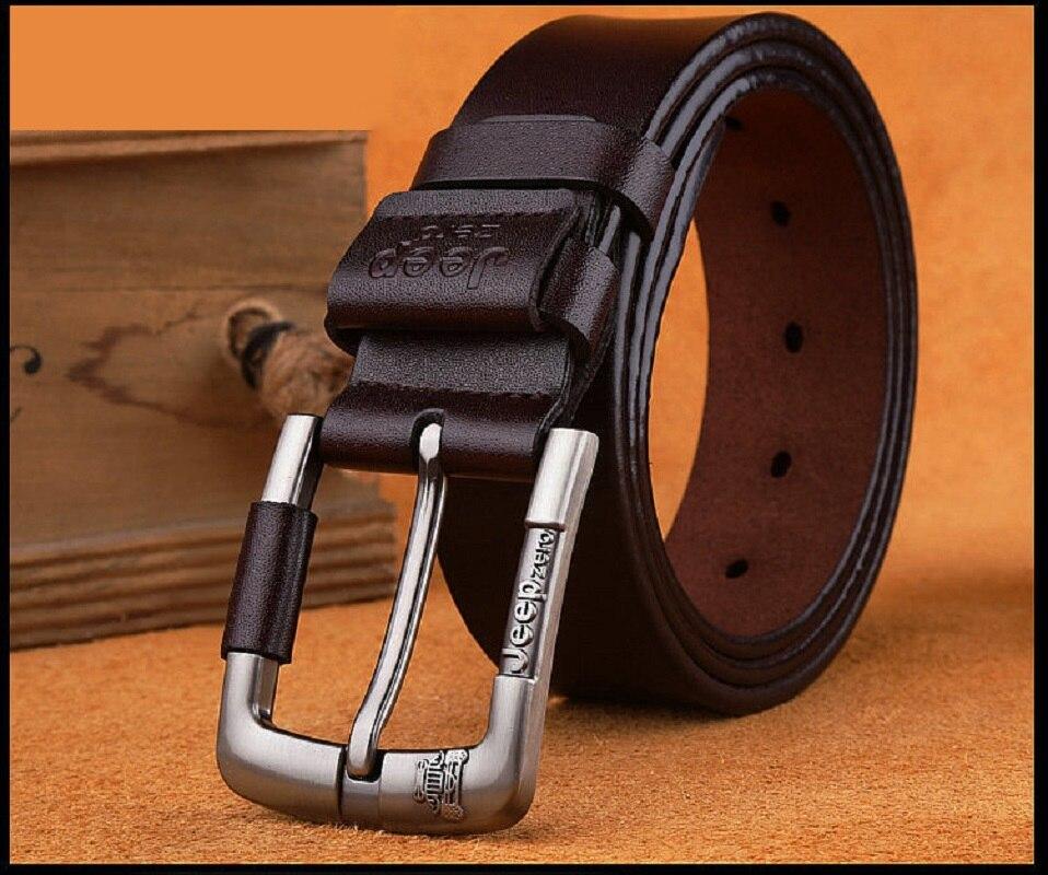 Designer Jeep Zero 100% Upper Genuine Leather Alloy Pin Buckle Belt For Men Business Men Belt Fancy Vintage Jean Cintos Belts