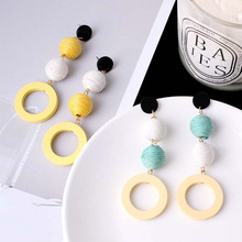New Arrivals Fashion Long Wood Round Drop Earrings Linen Hemp Rope Ball Hit Color Brincos Hyperbole Women Jewelry