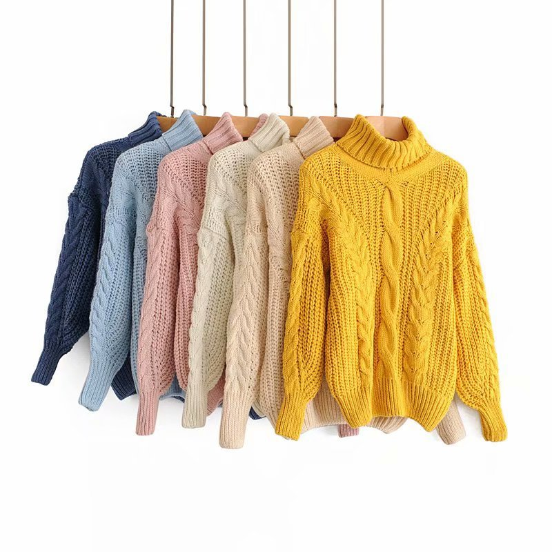 2019 New Hot Fashion Women Sweater Casual Long Sleeve Jumper Pullover Sweater Candy Colors High Collar Twisted Long Sleeve