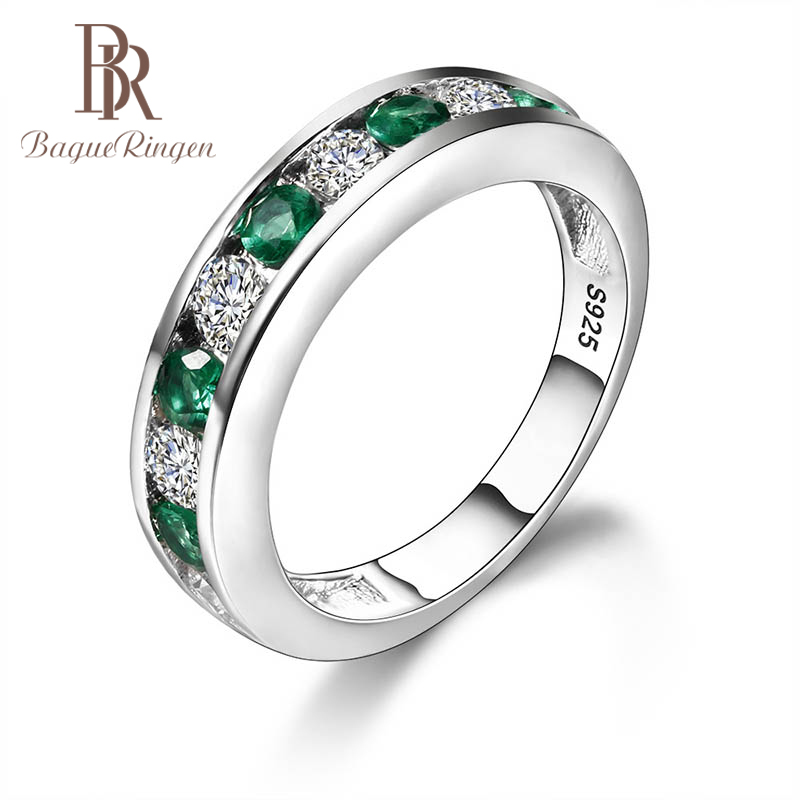 Bague Ringen Emerald Ring For Women Silver 925 Jewelry With Gemstones Individual Character Accessory Lover's Gift Anniversary