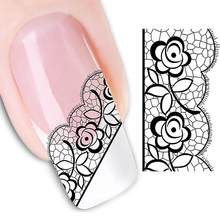 Fashion Black Rose Flower Lace Nail Art Sticker Decal Finger Tips Decor Manicure(China)