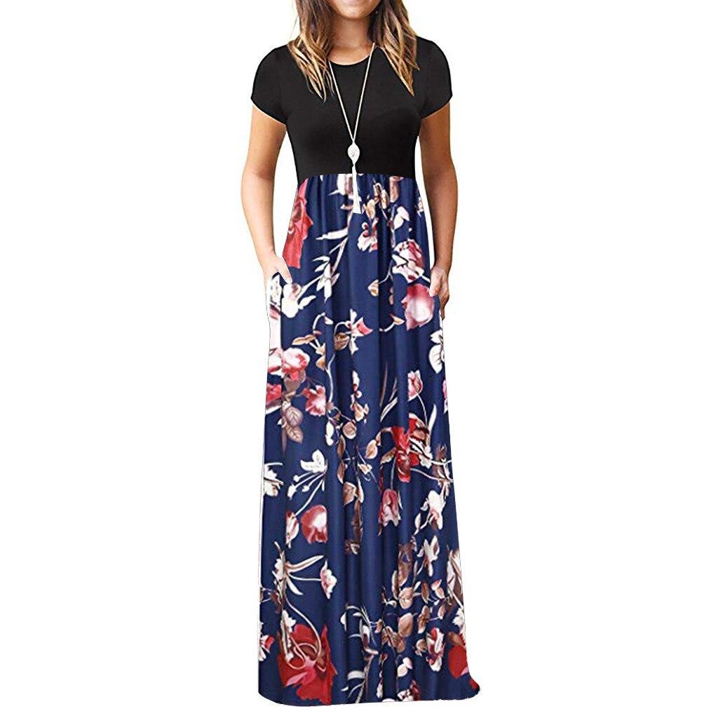 Vintage Floral Print Boho Dress Women Long Maxi Dress Evening Party Beach Summer Dress Vestidos
