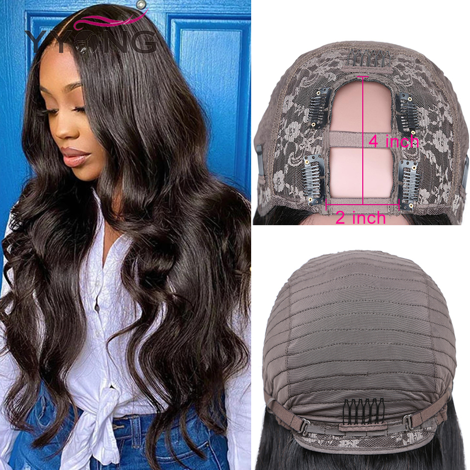 YYong 8-24inch U Part Wigs  Body Wave Natural Color  Wig  Easy Installed Breathable U Part Wig 3