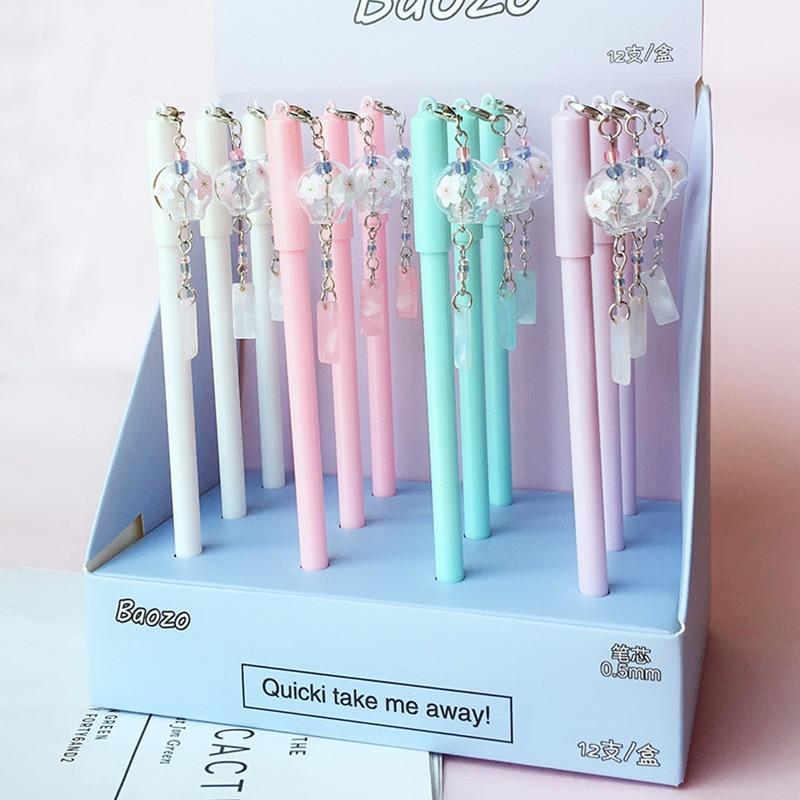 Kawaii Wind Chimes Gel Pen Cute Pendant Pens Black Ink Neutral Pens For Writing Kid Girls Gift School Supplies Korean Stationery