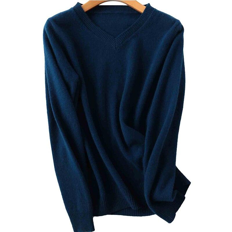 100% Merino Wool Women V-Neck Sweater 2020 Autumn Winter Warm Soft knitted Pullover Femme Jumper Women Cashmere Sweater 12