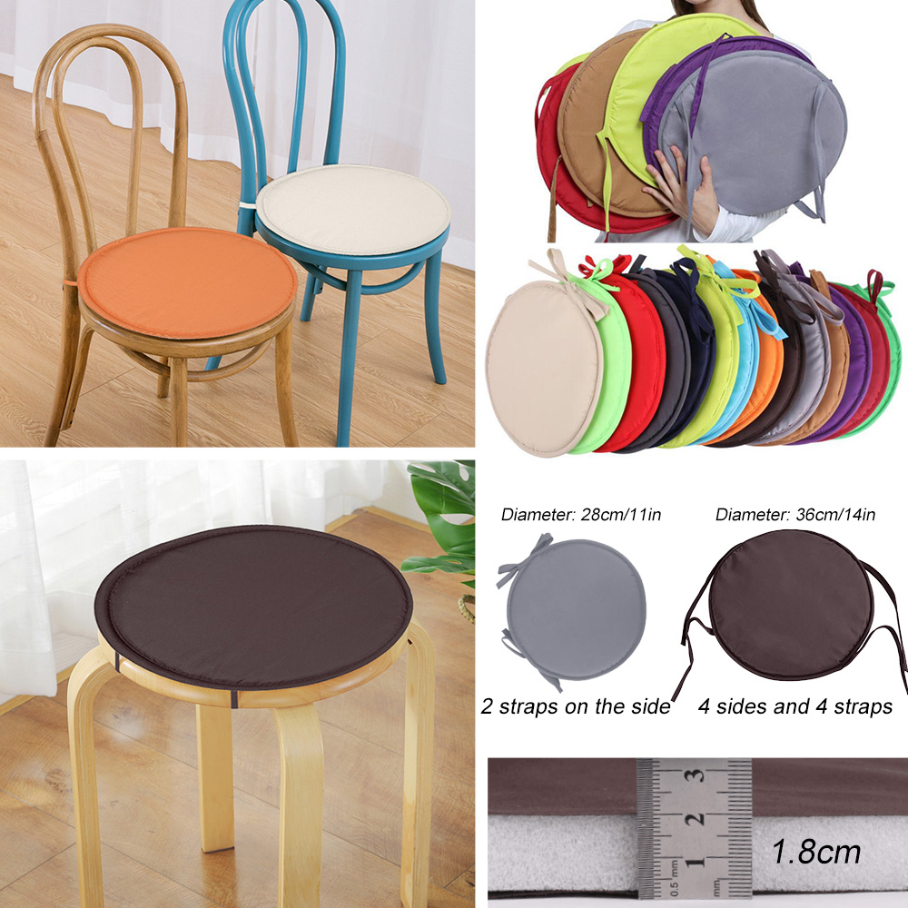 DIDIHOU Simple Style Portable Indoor Dining Chair Cushions With Ropes Home Office Kitchen Solid Round Chair Seat Cushion 28x28cm