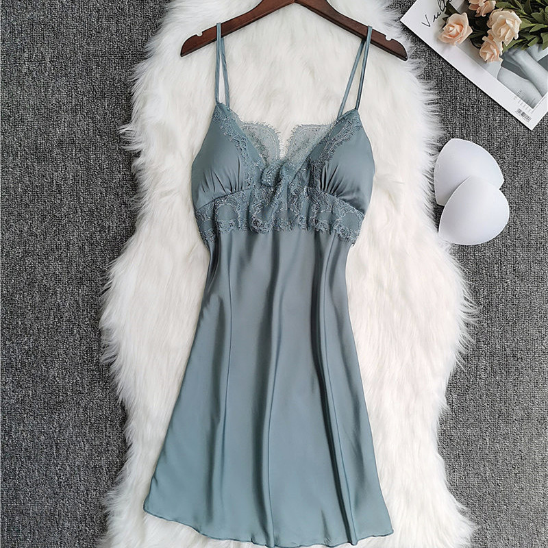 2019 Summer Ladies Sleepshirts Nightdress Lace Sleeveless Nightwear Satin Sexy Spaghetti Strap Silk Sleepwear Nightgowns