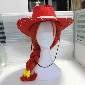 Halloween Movie Toys Jessie cosplay wig cowgirl red hair with hat Role play Jessie braid wig with cap(China)