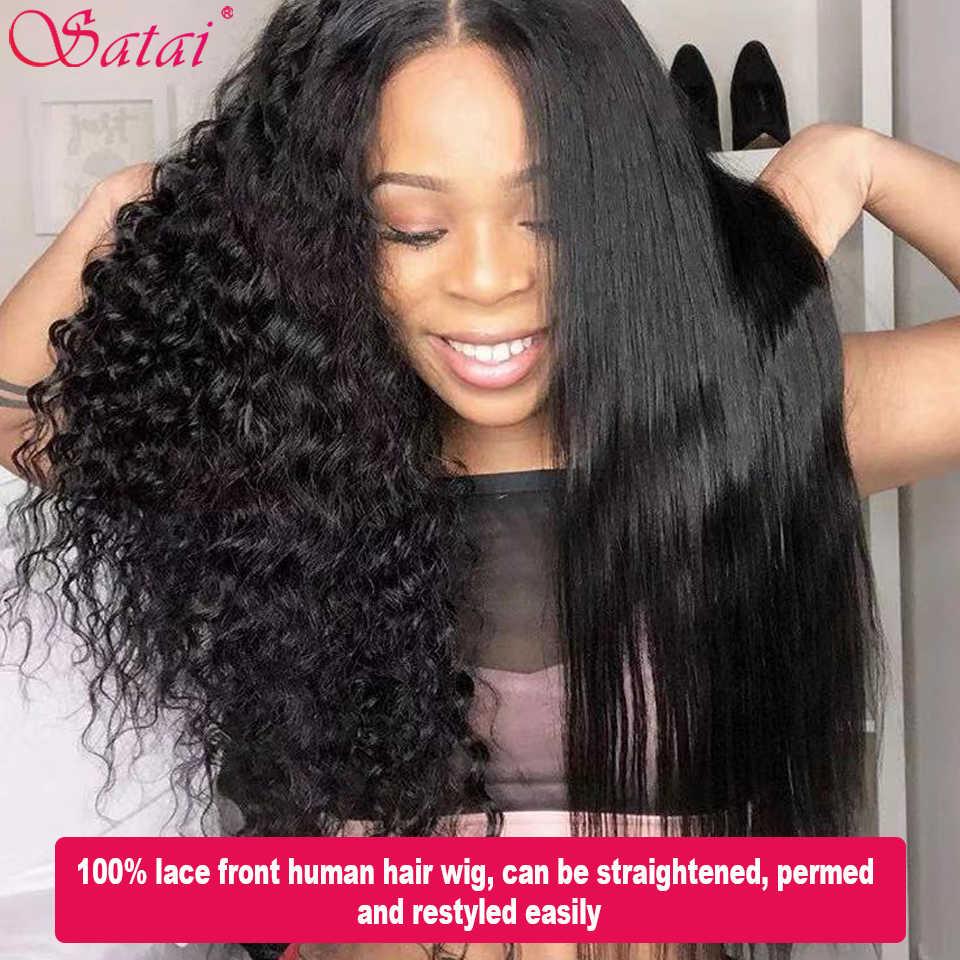 Satai 13x6 Lace Front Menselijk Haar Pruiken Water Wave Pre Geplukt Haarlijn 150% Dichtheid Menselijk Haar Pruiken Braziliaanse remy Haar