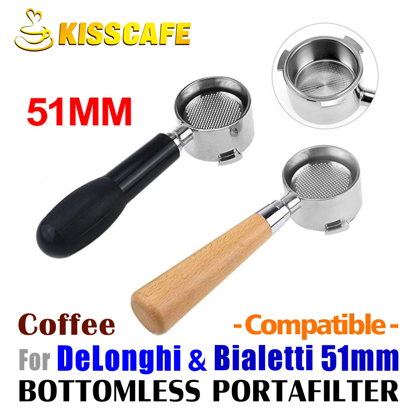 51mm Coffee Machine Filter Holder ECO680 685 Bottomless Portafilter with Wooden
