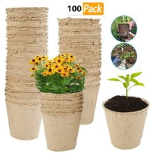 100 Pcs Nursery Pots Biodegradable Paper Pulp Peat Pot Plant Nursery Cup Tray Nursery Pot Pouch Potted Plant Grow(China)