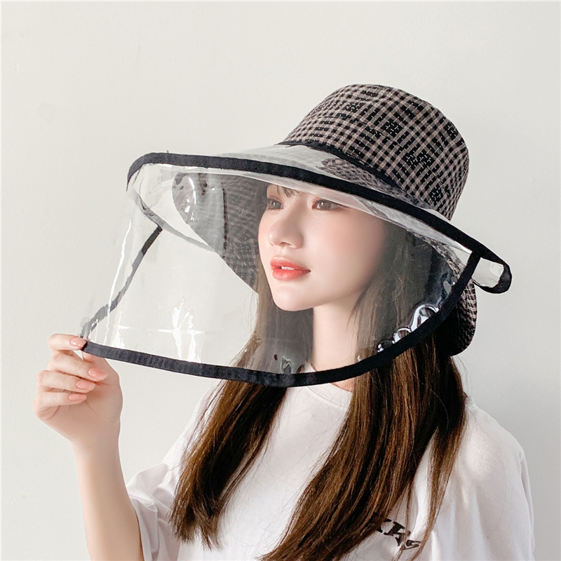 COKK Bucket Hat Women Summer Hat With Plastic Shield Face Full Cover Anti Spitting Eye Protection Dustproof Removable Mask