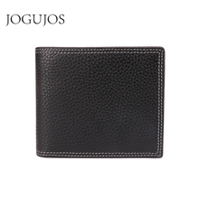 JOGUJOS 2019 Genuine Leather Men's Wallets New Short Wallet Coin Purse Luxury Leather Rfid Wallet Credit Card Purse For Men недорого
