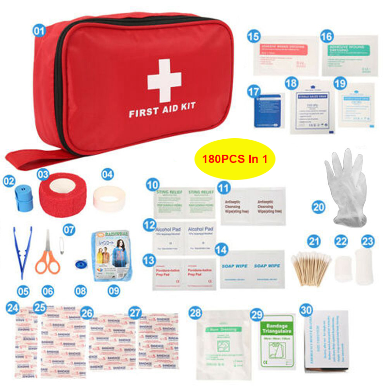 180PCS In 1 Portable FirstAid Kit Bag Protect Survival Treatment Rescue Emergency Kit Treatment Pack Outdoor Wilderness Survival
