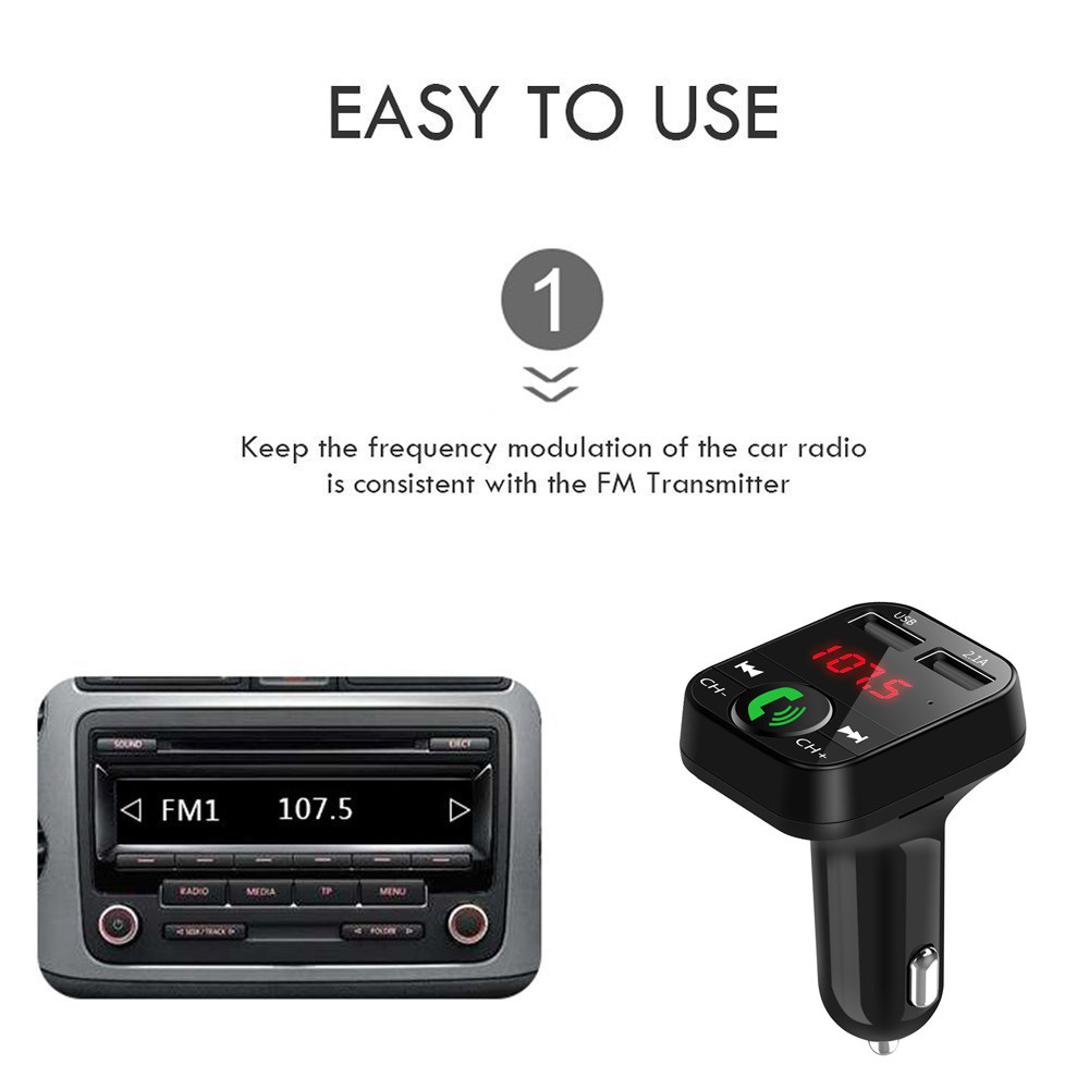 Bluetooth Coche Kit Inalámbrico Transmisor de FM Audio Radio USB MP3 Reproductor