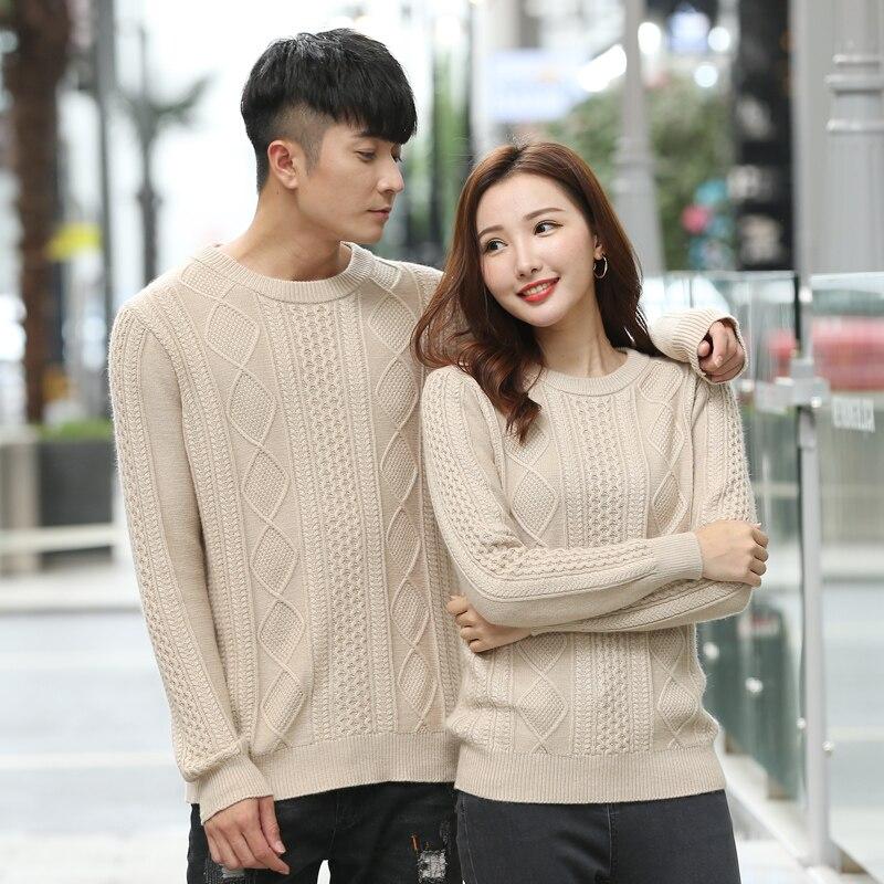 Chandail pour femmes nouveau col rond 100% laine chandail décontracté couleur unie mature à manches longues tricot chandail mode amoureux sauvages