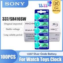 Аккумулятор для часов Sony, 100 шт./лот, 1,55 в, 337 SR416SW, с оксидом серебра, 337 SR416SW, Кнопочная монета, сделано в Японии, 0% Hg