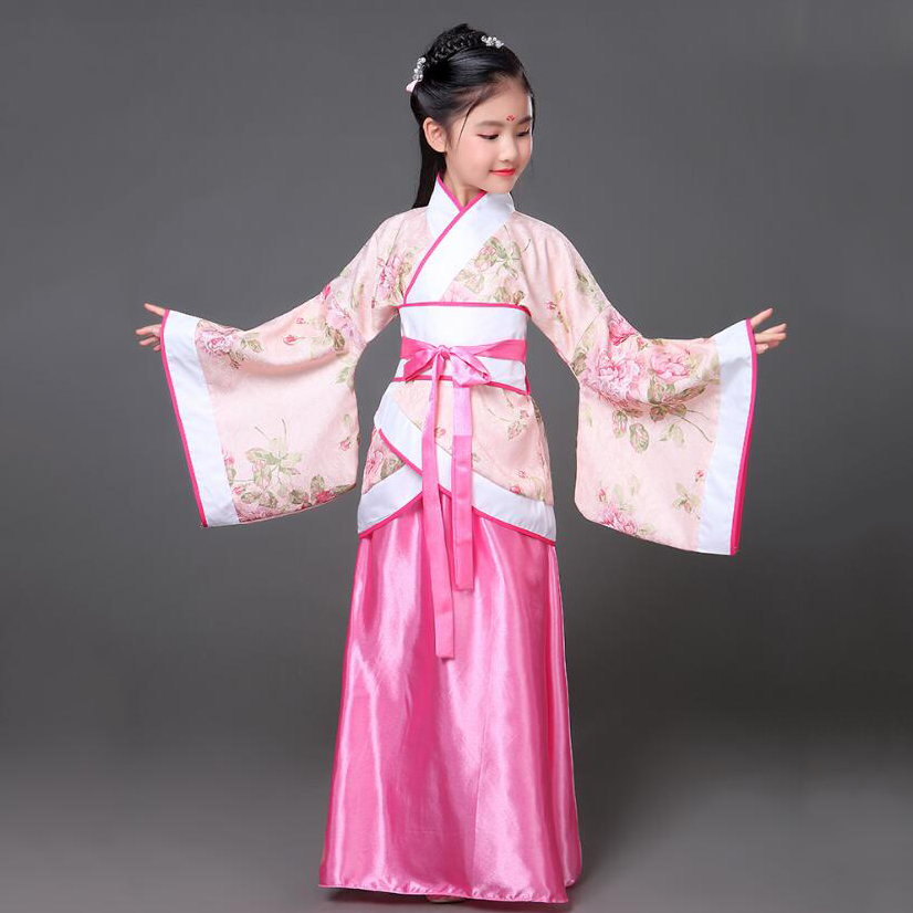 Ancient Kids Traditional Dresses Chinese Outfit Girls Costume Folk Dance Performance Hanfu Dress For Children