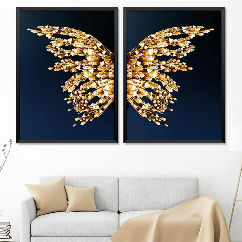 Modern Abstract Butterfly Picture Home Decor Canvas Painting Wall Art Golden Luxury Prints and Posters for Living Room Painting
