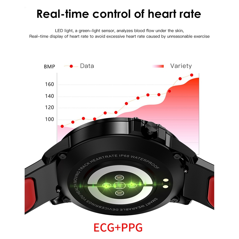 L8 Smart Watch Men Ip68 Waterproof Mode Smart Watch with Ecg Ppg Blood Pressure Heart Rate Sports Fitness Watches-Black