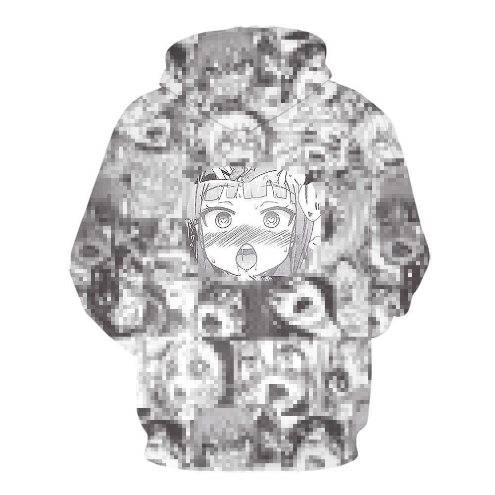 Sudoroso cara Ahegao impresión 3D invierno Anime Sudadera con capucha Casual hombres chándal sudaderas con capucha suéter Streetwear chaqueta DropShip