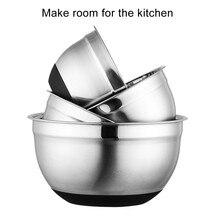 Bols à mélanger en acier inoxydable avec couvercles et fond en Silicone antidérapant, pour salade, pain, pâtisseries, gâteau, outils de cuisine M