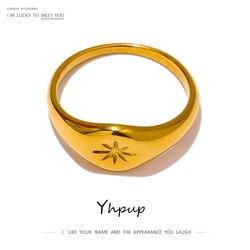 Yhpup mode North Star anneaux pour femmes en acier inoxydable 18 K plaqué métal couleur or Anillos Mujer tempérament bijoux cadeau
