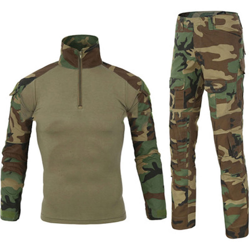 Tactical Camouflage Military Uniform Clothes Suit Men US Army Clothes Military Combat Shirt + Cargo Pants Knee Pads