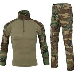 Tactical Camouflage Military Uniform Clothes Suit Men US Army Clothes Military Combat Shirt + Cargo Pants Knee Pads