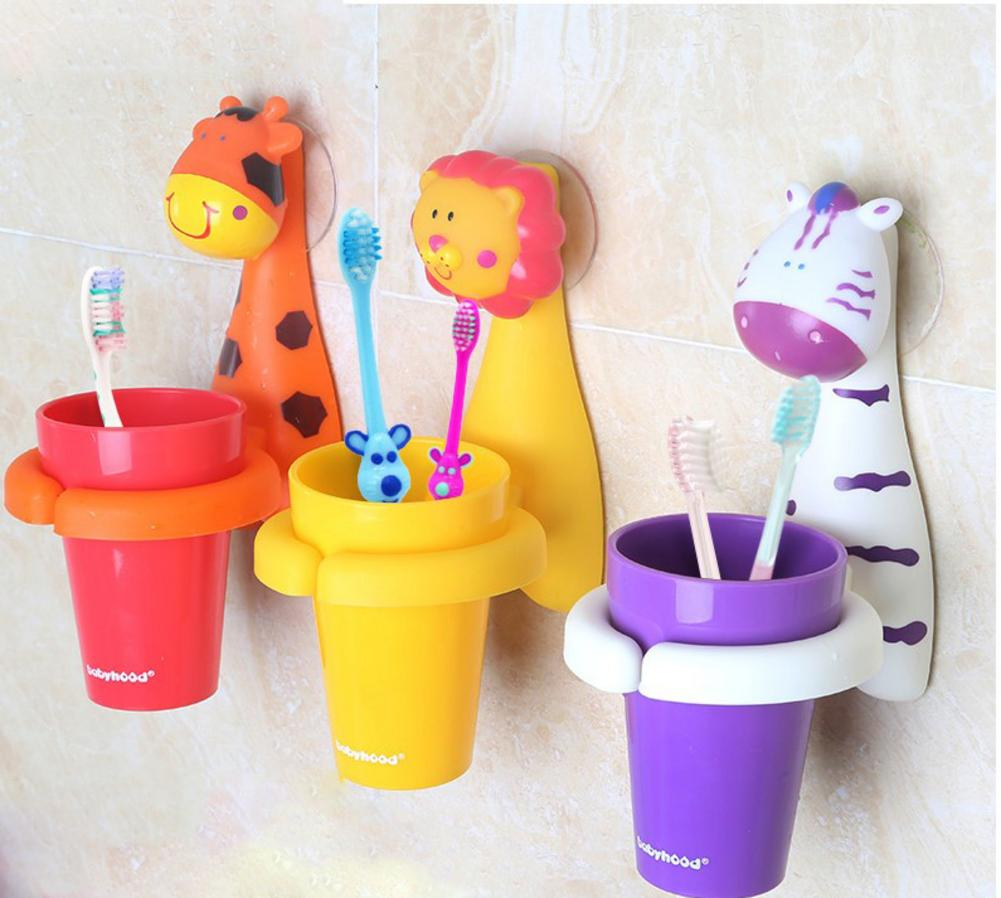 Cute Animal Child Kid Toothbrush Set With Toothbrush Rinse Cup And Holder Bathroom Accessories Toothpaste Holder Shelf Kid Gift