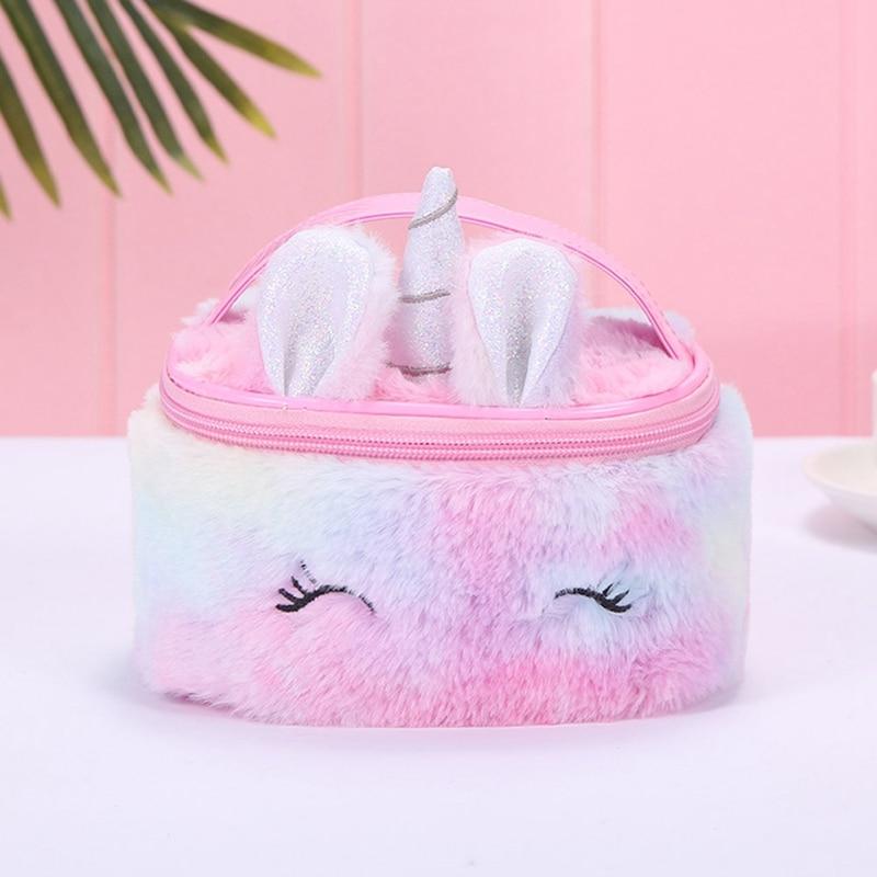 Unicorn Colorful Plush Makeup Bag Women Girls Lovely Make Up Bag Large Capacity Top-handle Barrel-shaped Cosmetic Storage Bag