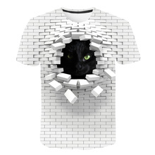 Men 3D Cat Wall Print Casual Harajuku Women T-Shirt Summer Short Sleeve O-neck Quality Tee boys grils Clothes Top Female T Shirt