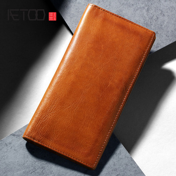 AETOO Head leather wallet, men's leather leather vintage wallet, leather fashion multi-function wallet фото