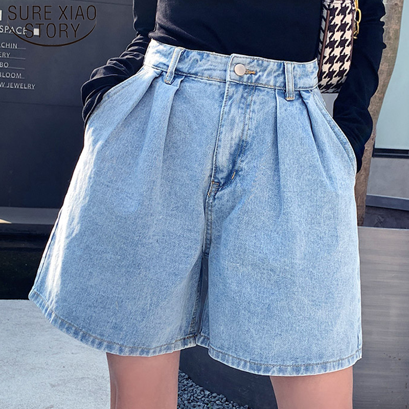 Casual Summer Jeans Shorts Vintage High Waist Blue Wide Leg Female Jean Shorts Plus Size Women's Denim Shorts Femme 9001 50