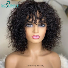 Curly Bob Human Hair Wigs With Bangs Remy Hair