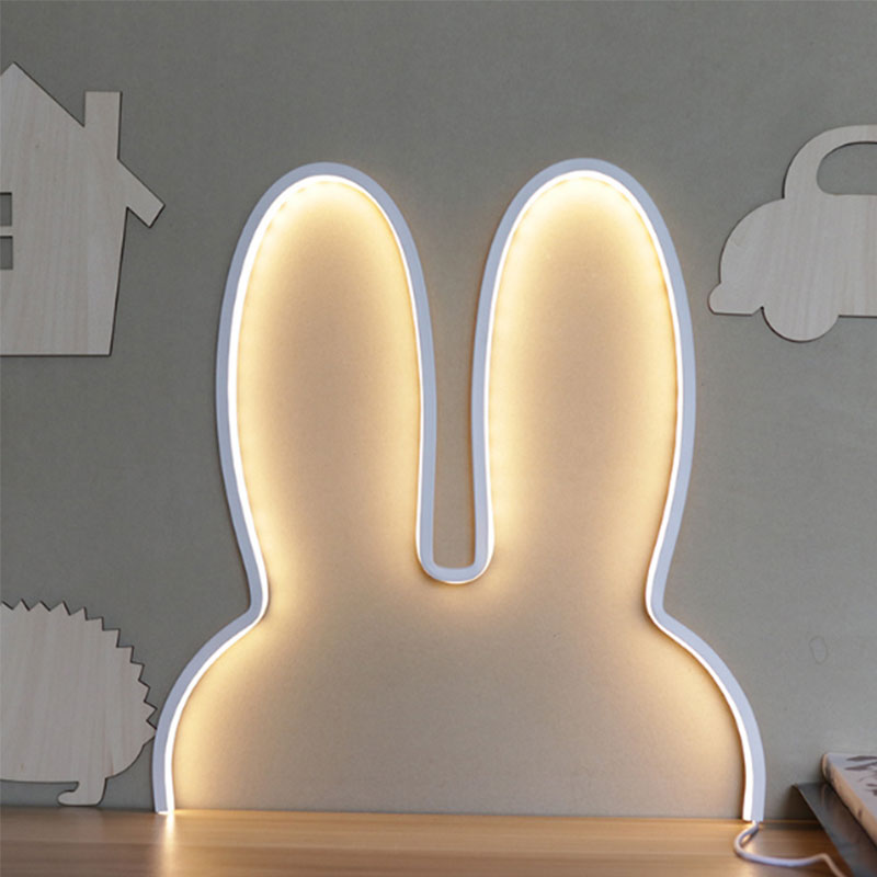 Светодиодный ночник для детей с большим Кроликом, ночник, USB, прикроватная лампа для спальни, декоративная лампа для дома, подарок на Рождест...