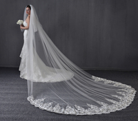 2 Tiers 4 M Cathedral Wedding Bridal Veil White Ivory Vintage Lace Wedding Bridal Veils Custom With Comb