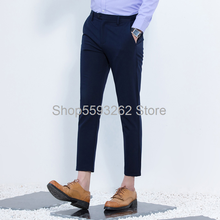 Men's trousers youth casual leggings stretch ankle-length pants thin slim men's trousers(China)
