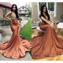 vestidos de gala African Mermaid Prom Dresses Long 2019 Sexy Deep V Neck Imported Party Dress Black Girl Women Formal Gowns