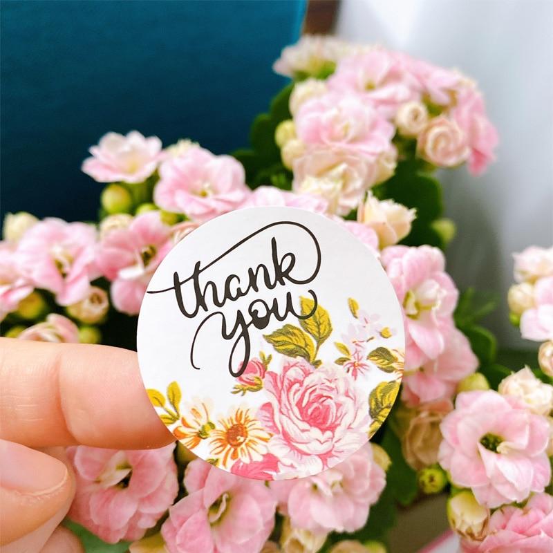 120 шт./упак. самоклеящаяся, спасибо, креативный цветок, круглая наклейка ручной работы, герметизирующая наклейка для торта, DIY Уплотнительная...